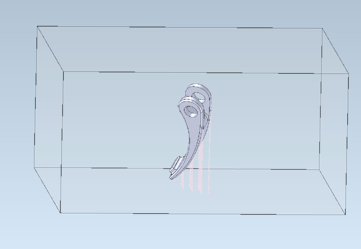 Supports created by the CGM 3D Modeler for the lightweighted lever