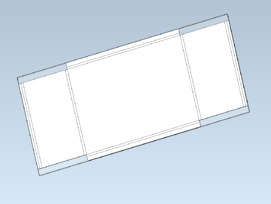 Sheet-metal blank overlayed on unfolded/defeatured computer housing