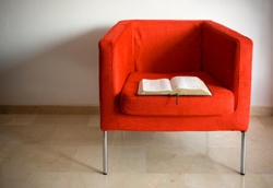 book on chair